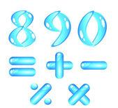 Blue shiny alphabet. Digits (part2) — Stock Vector