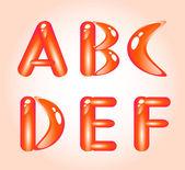 Red shiny alphabet. Part 1 — Stock Vector