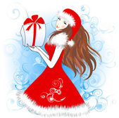 Christmas girl with a gift — Vettoriale Stock