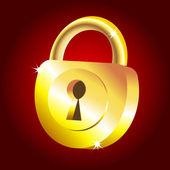 Golden padlock icon — Stock Vector