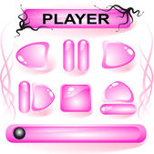 Set of pink glass buttons — Stock Vector