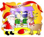 Santa en lieve — Stockvector