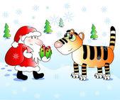 Santa felicita bonito tigre — Vetorial Stock