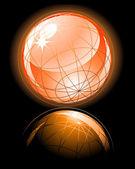Oranje glanzende globe — Stockvector