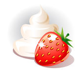 Strawberry and cream — Stock Vector