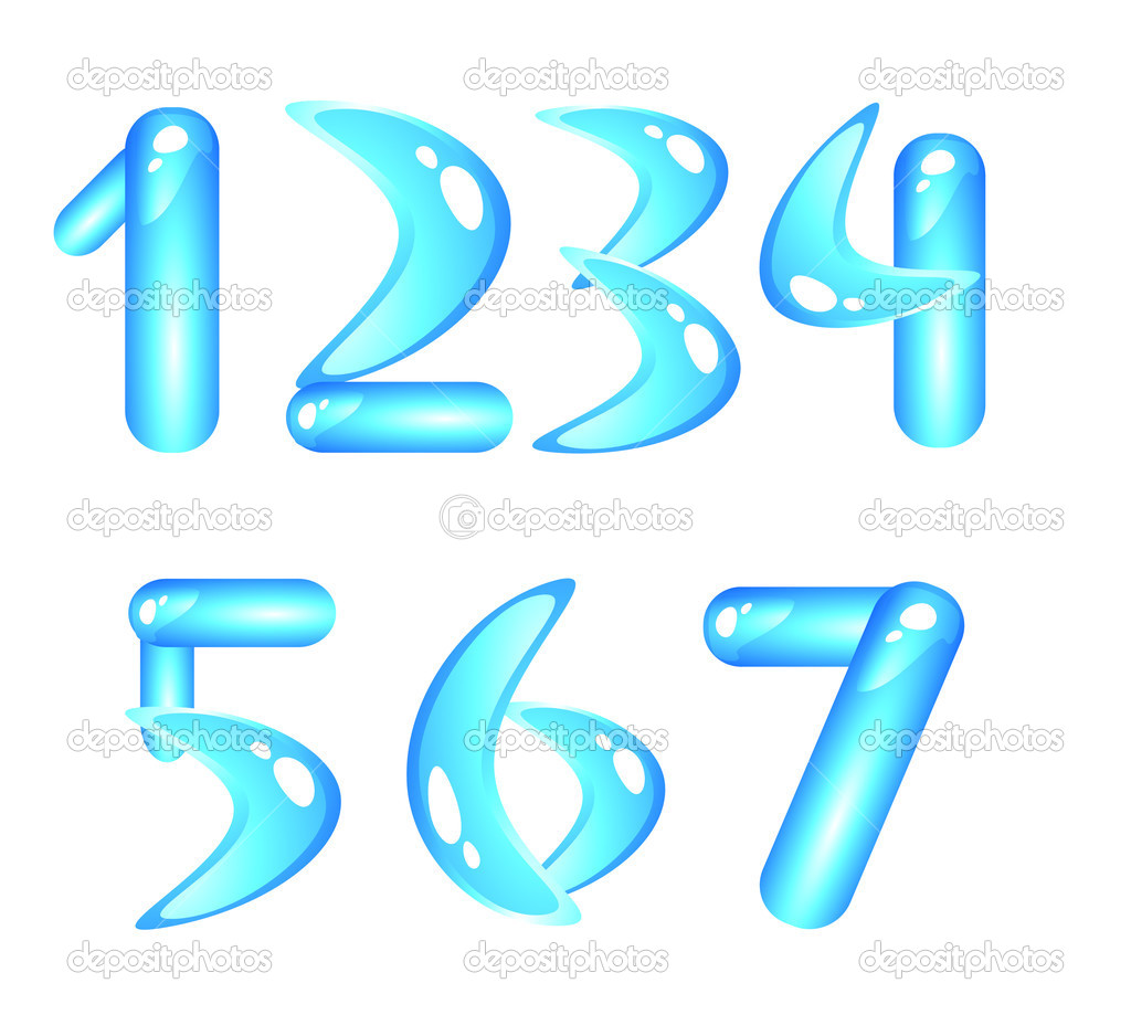 Blue aquatic shiny alphabet. Digits (part1) — Stock Vector #1184986