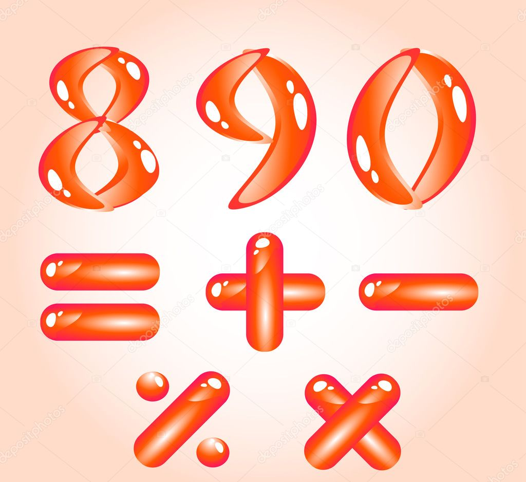 Red shiny alphabet. Digits (part 2) — Stock Vector #1185032