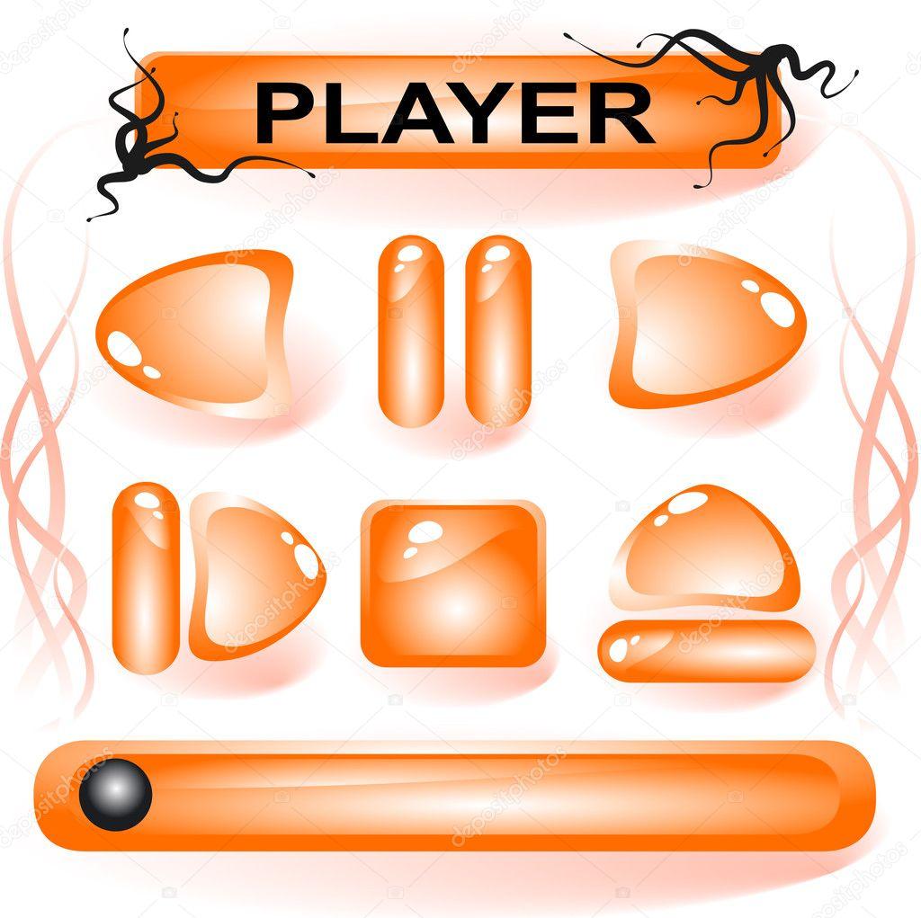 橙色玻璃按钮 — 图库矢量图片 #1185127