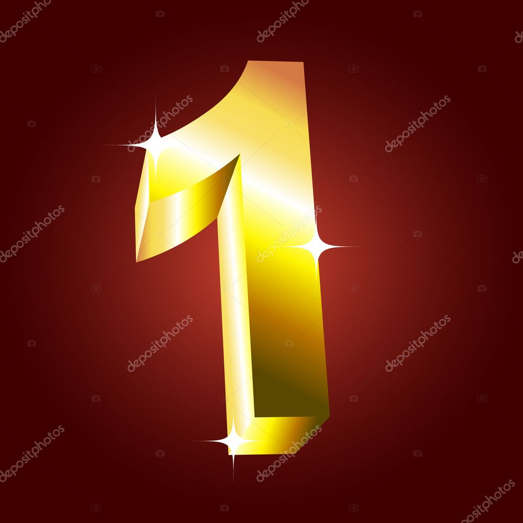 Number one. Vector golden font  Stock Vector #1185248