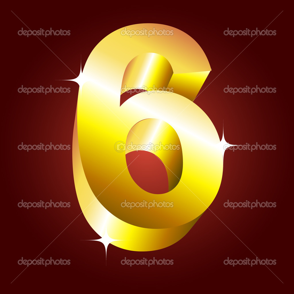Number six. Vector golden font — Stock Vector #1185264