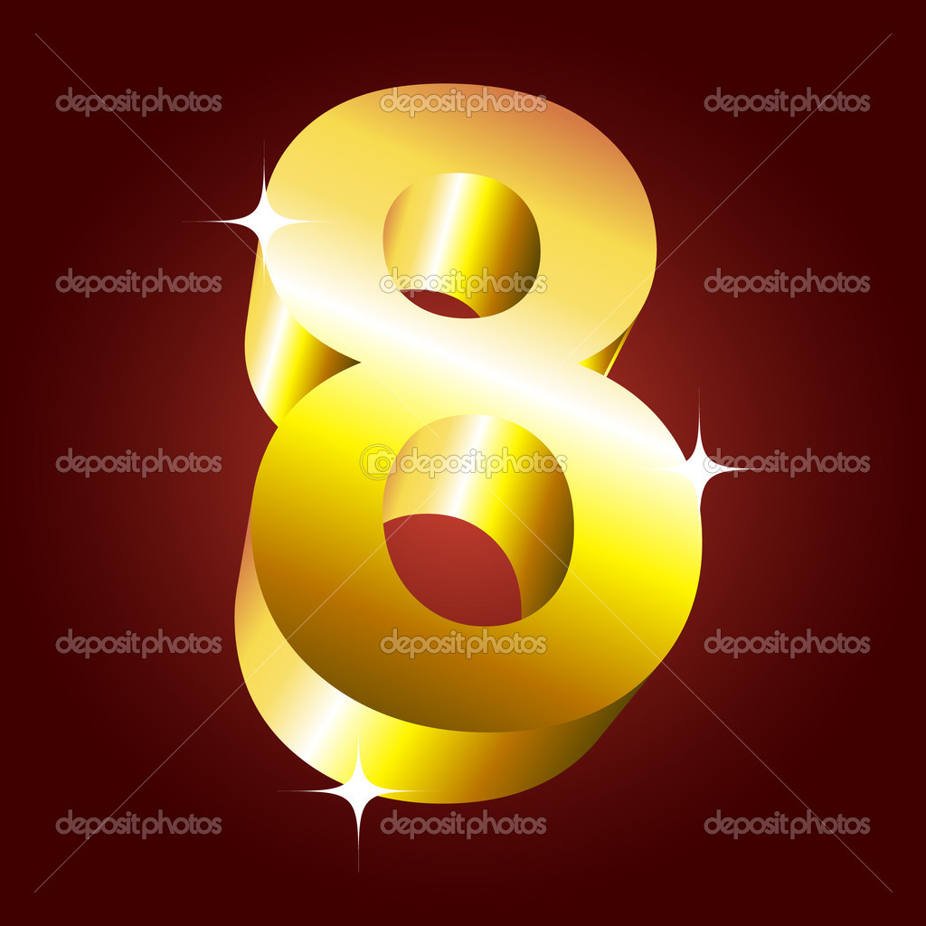 Number eight. Vector golden font — Stock Vector #1185270