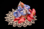 Artificial handmade roses — Stock Photo