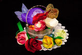 Artificial handmade roses — Stock Photo