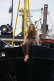Girl on the yacht — Stock Photo