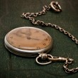 Royalty-Free Stock Photo: Old clock with chain lying on rough gree