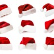Set of Santa hats isolated on white - Stockfoto