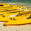 Kayaks on the beach sand — Stock Photo