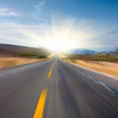 Road to sun motion blur. Square — Stock Photo