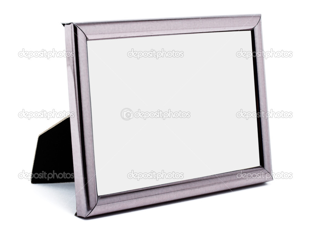 Empty Metal Picture Frame Isolated Stock Photo