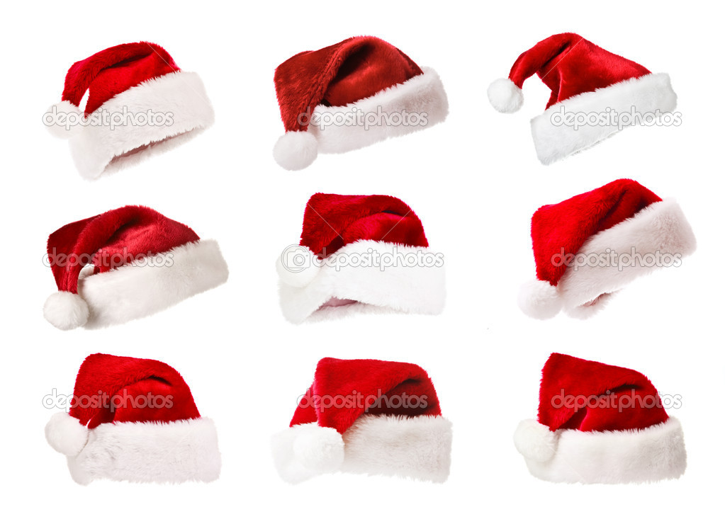 Set of Santa's red hats isolated on white — Zdjęcie stockowe #1083478