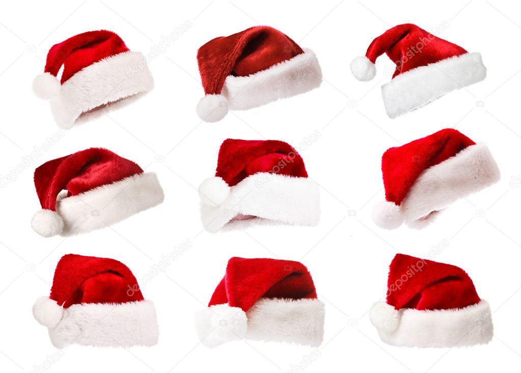 Set of Santa's red hats isolated on white — Photo #1083478