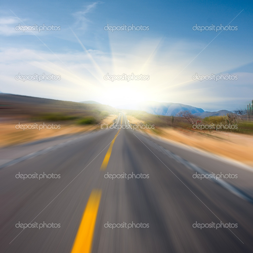Road in desert  leading to sun motion blurred. Square — Stock Photo #1089448