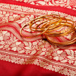 Indian sari with golden bangles - Stock Photo