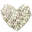 Heart made of hundred dollar banknotes i — Stock Photo