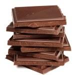 Stack of dark chocolate isolated — Stock Photo