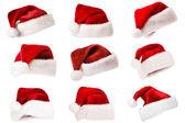 Noel baba şapkası, üzerinde beyaz izole — Stok fotoğraf