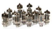 Vacuum tubes on white background — Stok fotoğraf