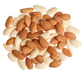 Pile of mixed almonds isolated — Stock Photo