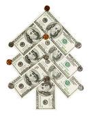 Tanne hergestellt aus dollars und cents isola — Stockfoto