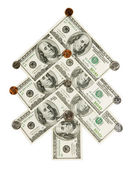 杉木树所作的美元和美分伊索拉 — 图库照片