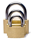Three padlocks of different size — Stock Photo