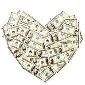 Сердце использовался сто доллар банкноты — Стоковое фото