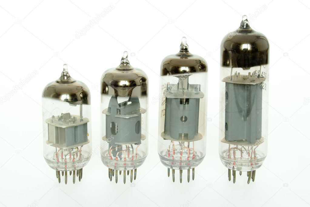 Old vacuum tubes on white background — Stock Photo #1093452