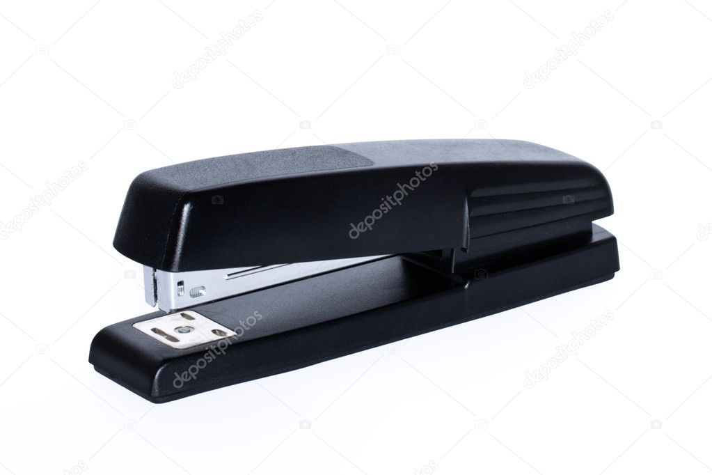 Black office stapler isolated on white background — Stock Photo #1093477