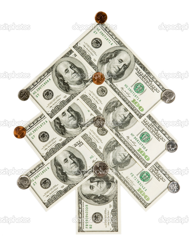 Fir tree made of dollars and cents isolated on white background — Stock Photo #1093494