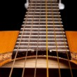 Classical guitar close up on dark — Stok fotoğraf