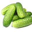 Green cucumbers isolated — Stock Photo