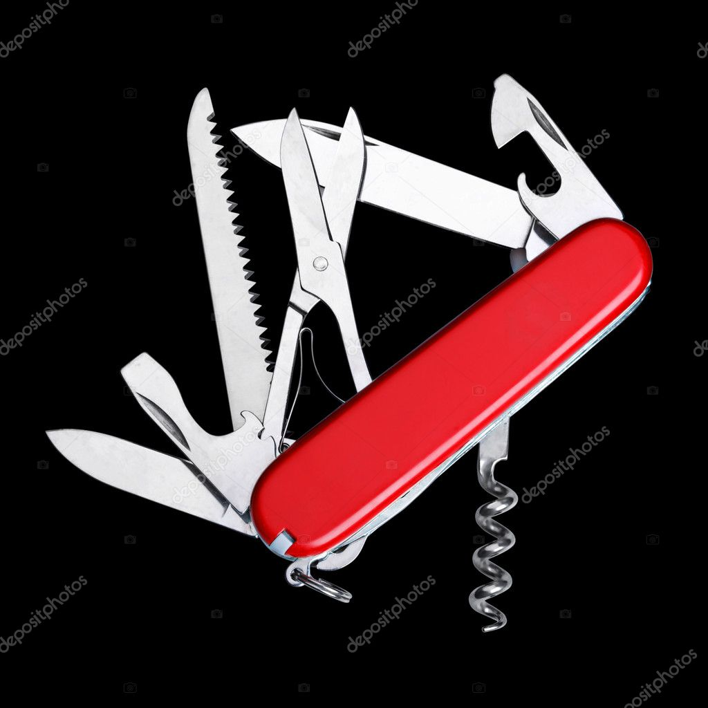 Swiss army multipurpose knife isolated on white — Stock Photo #1109713