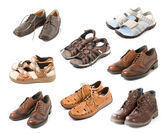 Various shoes isolated on white — Stock Photo