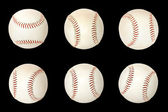Base balls isolated on black background — Stock Photo
