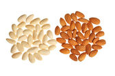 Two piles of almonds isolated — Stock Photo