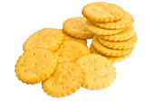 Round cracker stack, isolated on a white background   — Stock Photo