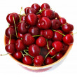 Sweet cherries in ceramic ware — Stock Photo