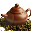 Clay teapot for the Chinese tea - Stock Photo