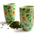 Set of ware for green tea — Stock Photo