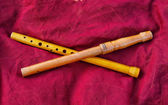 Two wooden old flutes — Stock Photo